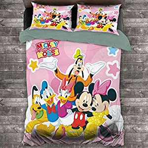 Bedding Set 3 Piece Set, Mickey Mouse Bedding Set Full 1 Duvet Cover & 2 Pillow Shams Ultra Soft and Breathable Comforter Cover, Full (80×90 inches) Mickey Minnie Mouse Donald Duck Family
