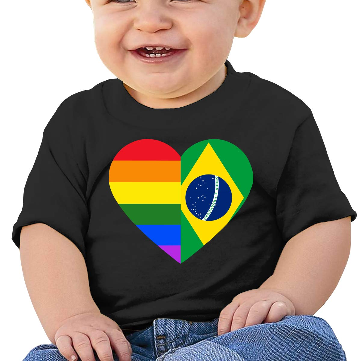 LGBT Rainbow Brazil Flag Heart Newborn Baby Newborn Short Sleeve T Shirts 6-24 Month Soft Tops