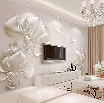 Fotomurali 3D Bianco In Rilievo Di Gesso Bianco Magnolia ...