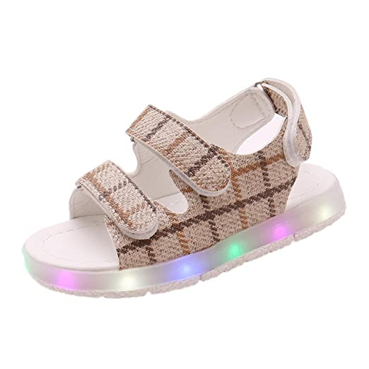 LED Sandalias de verano Xinantime Zapatos deportivos para niños pequeños Sandalias de bebé para niñas Zapatillas luminosas LED con zapatos 0-6 años (30, ...