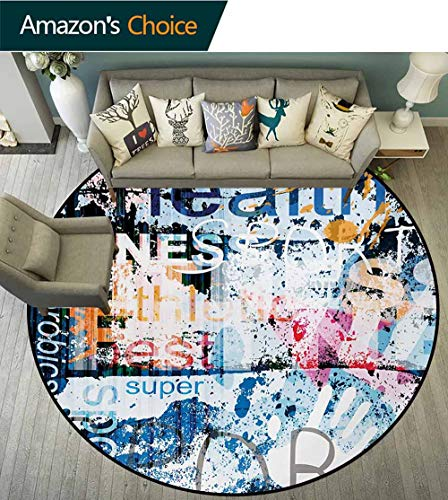 RUGSMAT Fitness Print Area Rug,Health Wellness Aerobics Sports Words Collection On Grunge Vintage Style Backdrop Perfect for Any Room,Floor Carpet,Round-35 Inch Multicolor