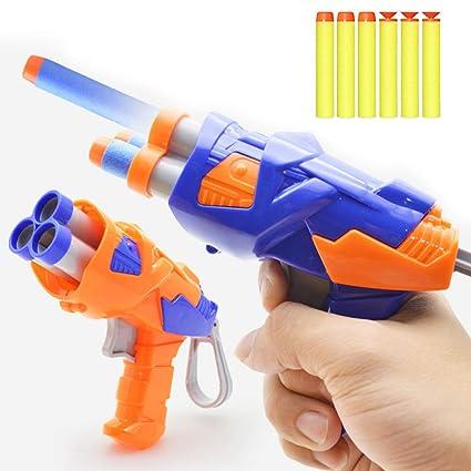 SMALL FOAM DART PISTOL SHOOTER WITH 6 BULLETS DART GUN FUN LIKE POWERFUL FO