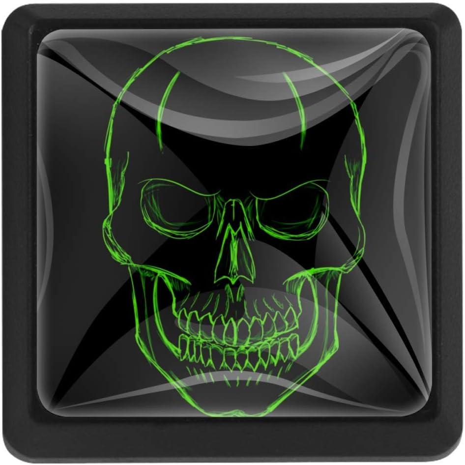 ergonomisch 3 St/ück quadratisch Bennigiry T/ürknauf mit Totenkopf-Motiv Kristallglas