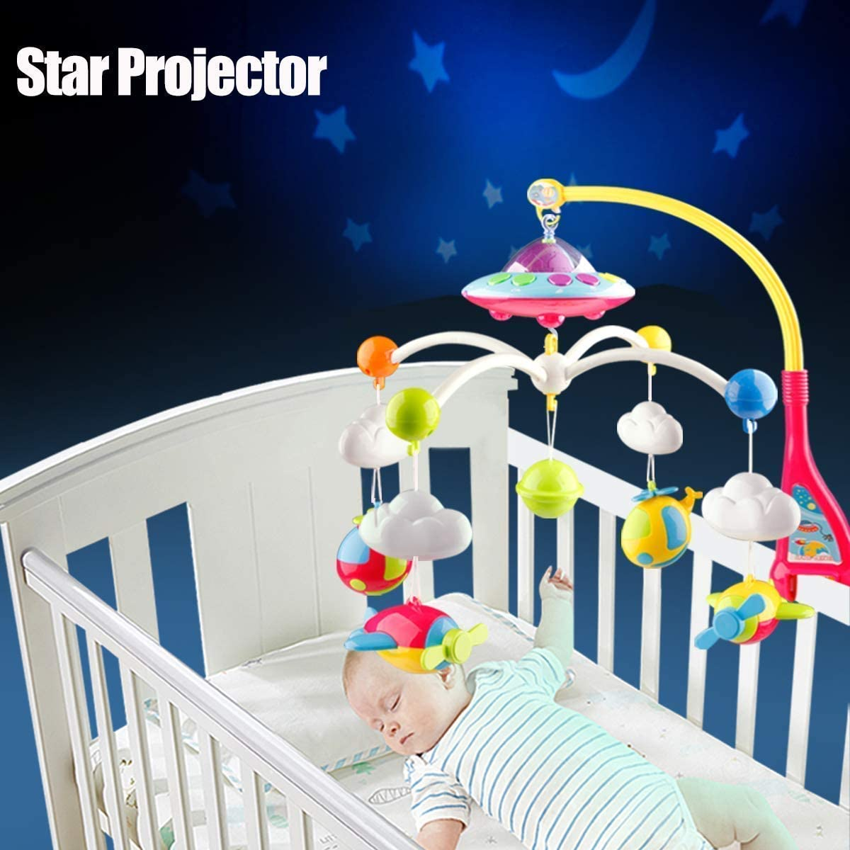 HLEEDUO Baby Crib Mobile with Relaxing Music,-Spaceship,car,Transportation Bright Yellow and red
