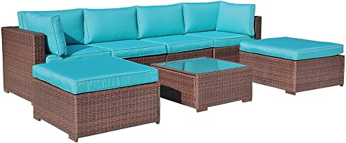 OC Orange-Casual 7 Pieces Outdoor Patio Furniture Set All Weather Wicker Sectional Sofa Couch Chair Ottoman
