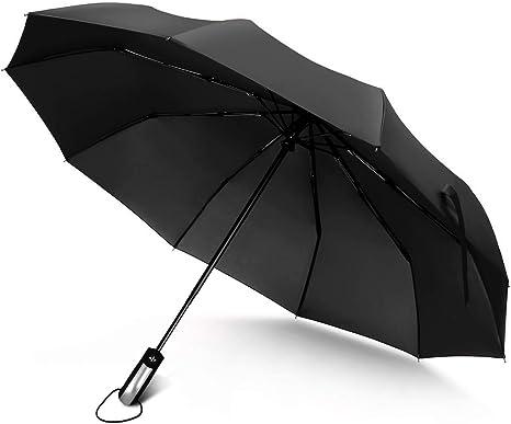 JUKSTG Umbrella 10 Ribs Auto Open//Close Windproof Rain Umbrella Waterproof Travel Umbrella Portable Umbrellas with Ergonomic Handle,Black