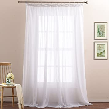 2 Layer Sheer Curtain Panels For Bedroom