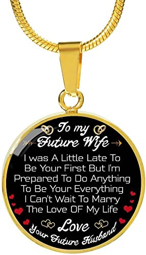 AZ Gift Customized To My Wife Heart Pendant Luxury Womens Jewelry I Love You Yesterday Valentine Sweet Gifts For Your Wife On Birthday