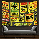 House Decor Tapestry Outer Space Decor Warning Ufo Signs with Alien Faces Heads Galactic Paranormal Activity Design Yellow Wall Hanging for Bedroom Living Room Dorm