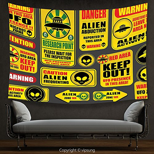 House Decor Tapestry Outer Space Decor Warning Ufo Signs with Alien Faces Heads Galactic Paranormal Activity Design Yellow Wall Hanging for Bedroom Living Room Dorm by vipsung