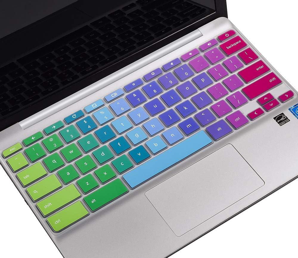 """Keyboard Cover for HP Chromebook 14""""/HP Chromebook 14-ak Series/HP Chromebook 14-ca Series/HP Chromebook 14-db Series/HP Chromebook 14 G2 G3 G4 G5/HP Chromebook 11 G2 G3 G4 G5 Keyboard Skin, Rainbow"""
