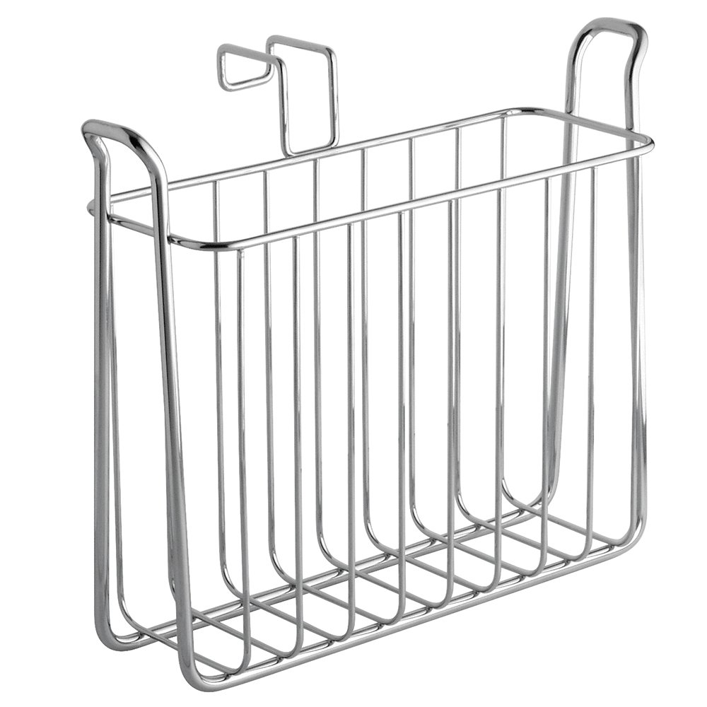 "iDesign Classico Steel Over-the-Tank Magazine Holder - 4.5"" x 10.7"" x 9.3"", Chrome"