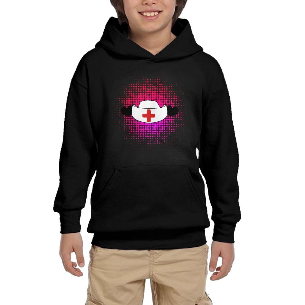 Youth Black Hoodie Nurses Hat With Love Heart Hoody Pullover Sweatshirt Pocket Pullover For Girls Boys L by Hapli