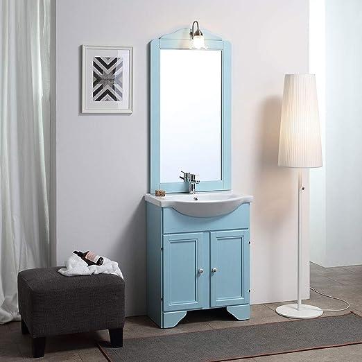Meuble de salle de bain bleu décapé Lavande 65 cm avec ...