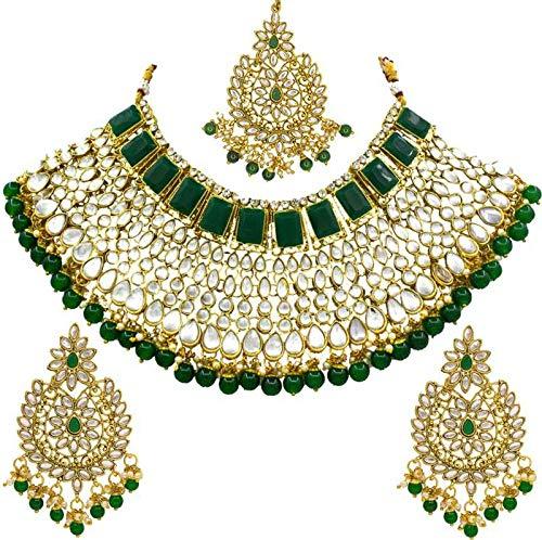 Saiyoni Ethnic Indian Traditional Gold Plated Kundan Dulhan Bridal Jewellery Set with Choker Earrings Maang Tikka Set…