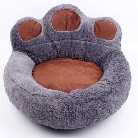 LA VIE Cama Sofá Redondo para Mascotas Forma de Garra Cesta Linda de Perros con Cojín Extraíble Casa Cama Nido Cómoda para Gatos y Perros M en Gris