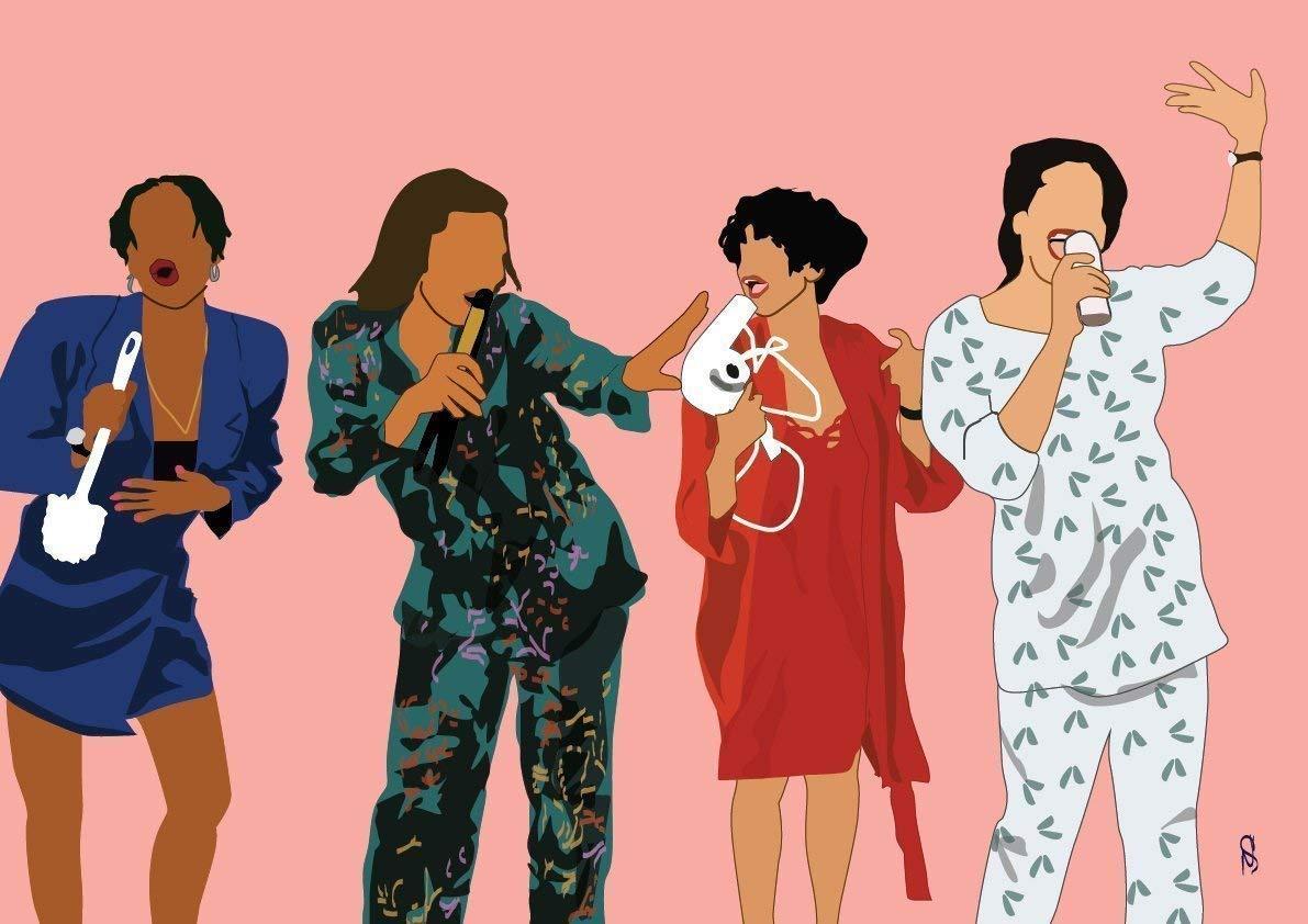 GoodNightOwlDesigns GNODpop - Living Single Art Print Poster- 90's TV Classic Show Print, Gift for Sister, Gift for Best Friend Black Art Print Home Decor,
