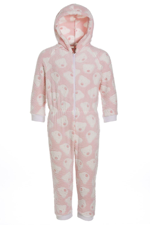 Camille - Pigiama intero bambino in morbido pile con cappuccio e motivo con orsi - rosa