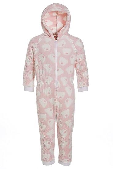 4e0a90fa1bc2c Camille - Combinaison-Pyjama à Capuche pour Enfant - Polaire Douce - Motif  Cousu oursons - Rose 15 16 Years  Amazon.fr  Vêtements et accessoires