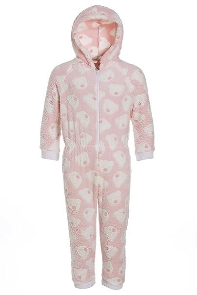 Camille - Pijama infantil de una pieza con capucha - Forro polar supersuave - Estampado de ositos - Rosa 15/16 Years: Amazon.es: Ropa y accesorios