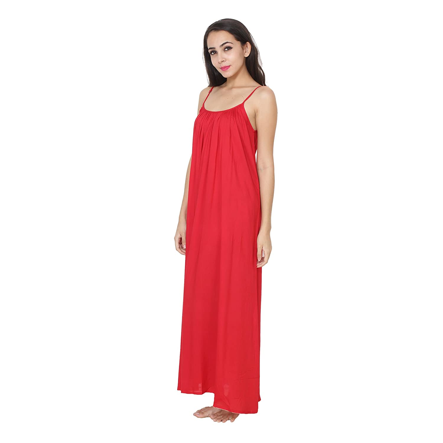 87a11a1950 Patrorna Women s A Line Nighty Night Dress with Lace Trim Robe in Red (Size  S-7XL