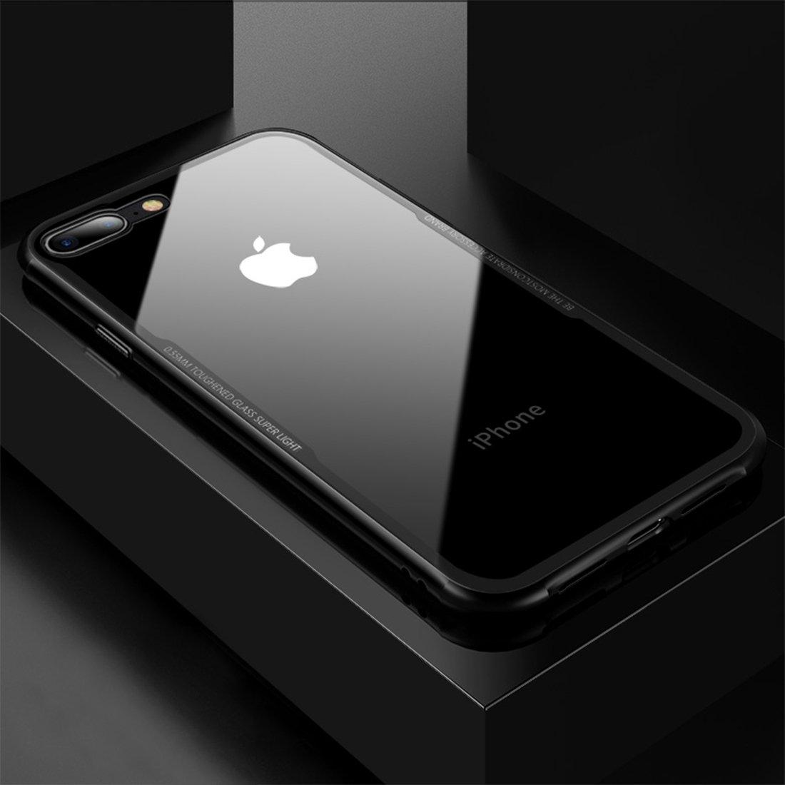 Couleur : Noir Housse de Protection arri/ère en Verre tremp/é Antichoc XACQuanyao pour iPhone 8 Plus//iPhone 7 Plus TPU