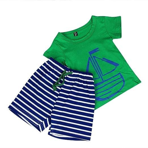 14e5ba684610c Fanteecy Summer Toddler Kids Baby Boy Clothes Cute Cartoon T-Shirt +Striped  Shorts Set
