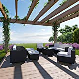 LexMod Avia Outdoor Wicker Patio 10-Piece Sectional Sofa Set in Espresso with White Cushions Review