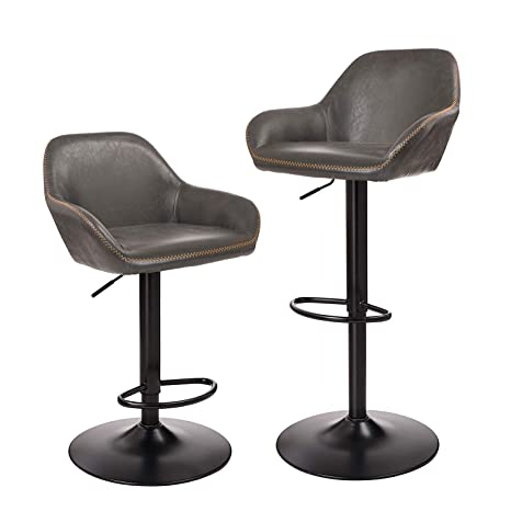 Admirable Glitzhome Mid Century Style Adjustable Swivel Bar Stool With Back Support Dining Chairs Dark Gray Set Of 2 Dailytribune Chair Design For Home Dailytribuneorg