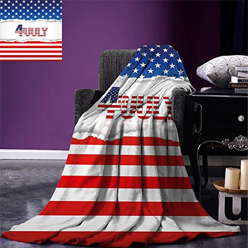 - smallbeefly 4th of July Lightweight Blanket American Flag Old Glory Design with Stars and Stripes Pattern Patriotic Image Digital Printing Blanket Multicolor