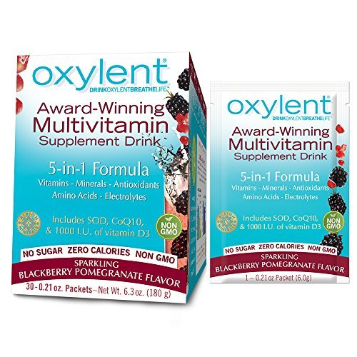 Oxylent 5-in-1 Multivitamin Supplement Drink - Sugar-Free & Effervescent for Easy Absorption of Vitamins, Minerals, Electrolytes, Antioxidants, Sparkling Blackberry Pomegranate Flavor, 30 Count