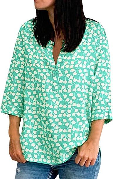 TOPKEAL Camisa de Manga Larga Estampada de Hojas para Mujer ...