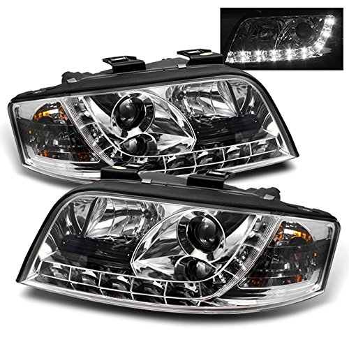 For Audi A6 C5 Sport Sedan Chrome Clear DRL Daytime LED Strip Projector Headlights Lamps Left + Right