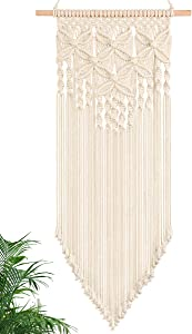 PAMANO Macrame Wall Hanging - Handmade Woven Nordic Home Decor Macrame Tapestry Bohemian House Living Room Bedroom Gallery Wall Art Décor-White16Wx33L
