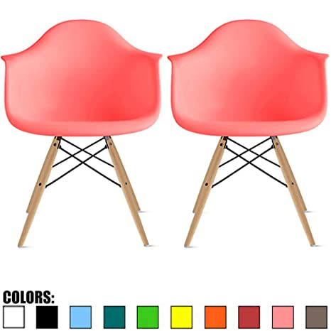 Cool 2Xhome Set Of 2 Pink Mid Century Modern Plastic Dining Chair Molded Arms Armchairs Natural Wood Legs Desk No Wheels Accent Chair Vintage Designer For Dailytribune Chair Design For Home Dailytribuneorg