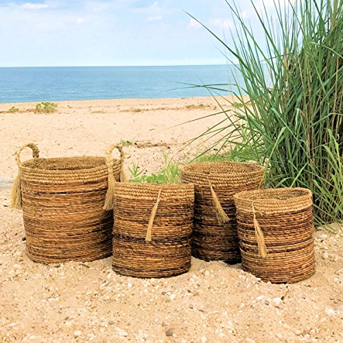 The Boho Beach House Tassel Baskets, Set of 4, Relaxed Coastal Style, Woven Banana Leaf and Sisal 3 Barrel and 1 Oversized Top-handled, (Various Sizes) By Whole House Worlds by Whole House Worlds