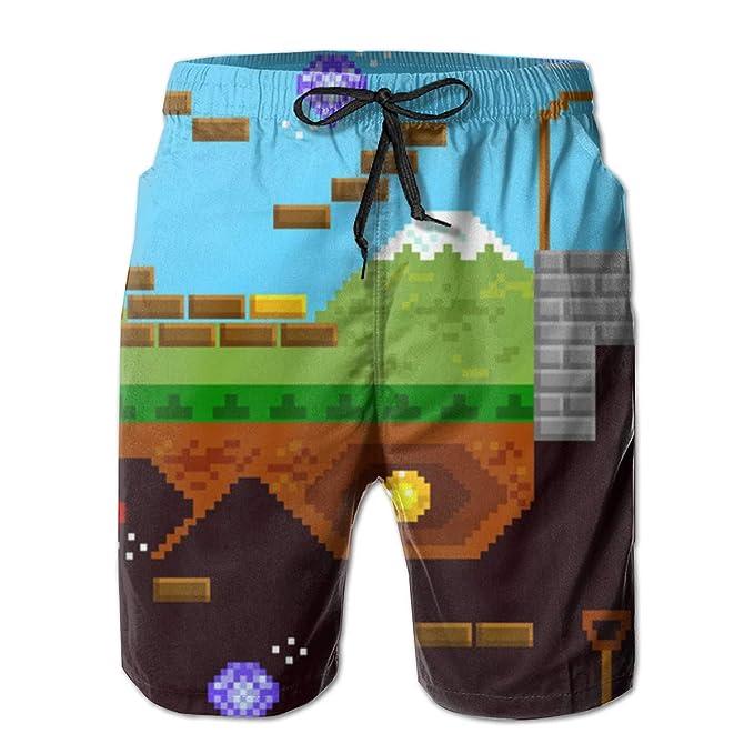 51821390cf Retro Video Game Mens Swim Trunks Summer Quick Dry Board Shorts Elastic  Waist Swimwear Bathing Suit
