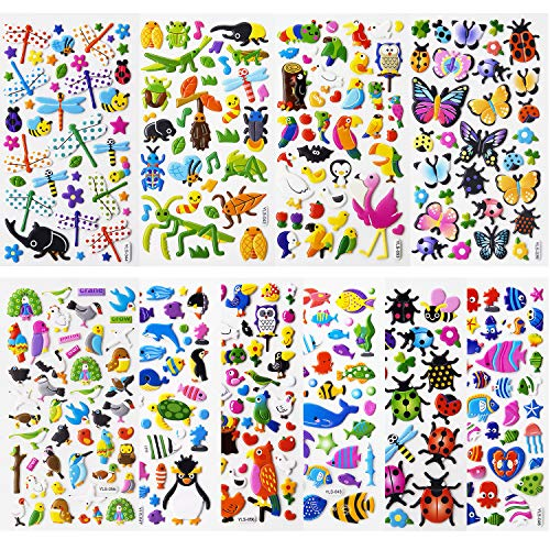 SAVITA 3D Stickers for Kids & Toddlers Puffy Stickers Cute Animal Stickers 480+ Including Butterflies, Insects, Sea Animals and More(12 Sheets) ()
