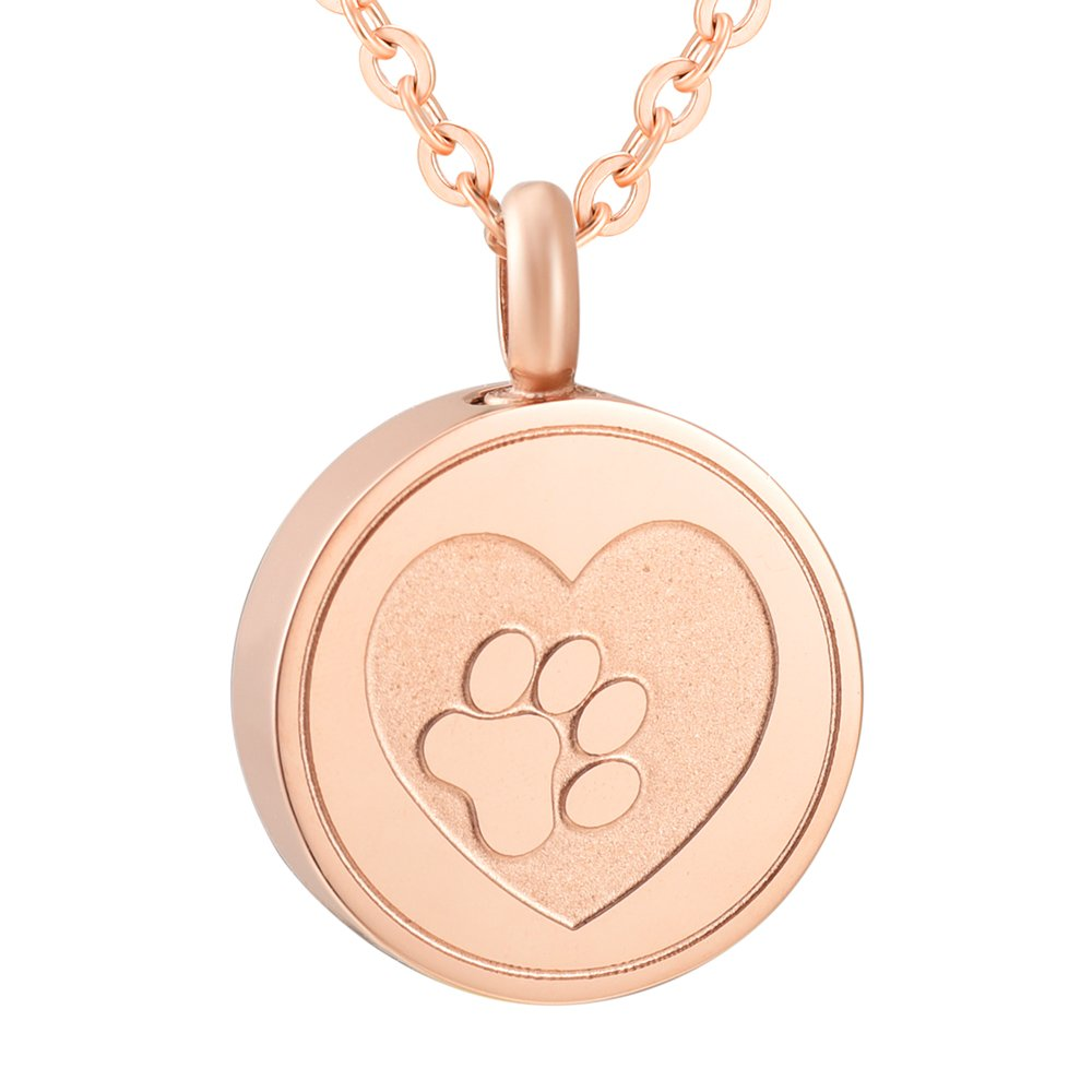 Love of Life SS9883 Dog/Cat Memorial Ashes Keepsake Urn Paw Pendant Necklace Pet Stainless Steel Funeral Necklace (rose gold)