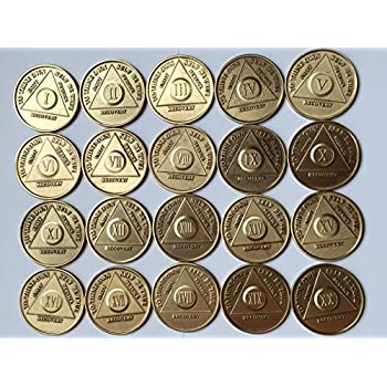 Lot of 20 Serenity Prayer Bronze Medallions AA Alcoholics Anonymous Chip Coins