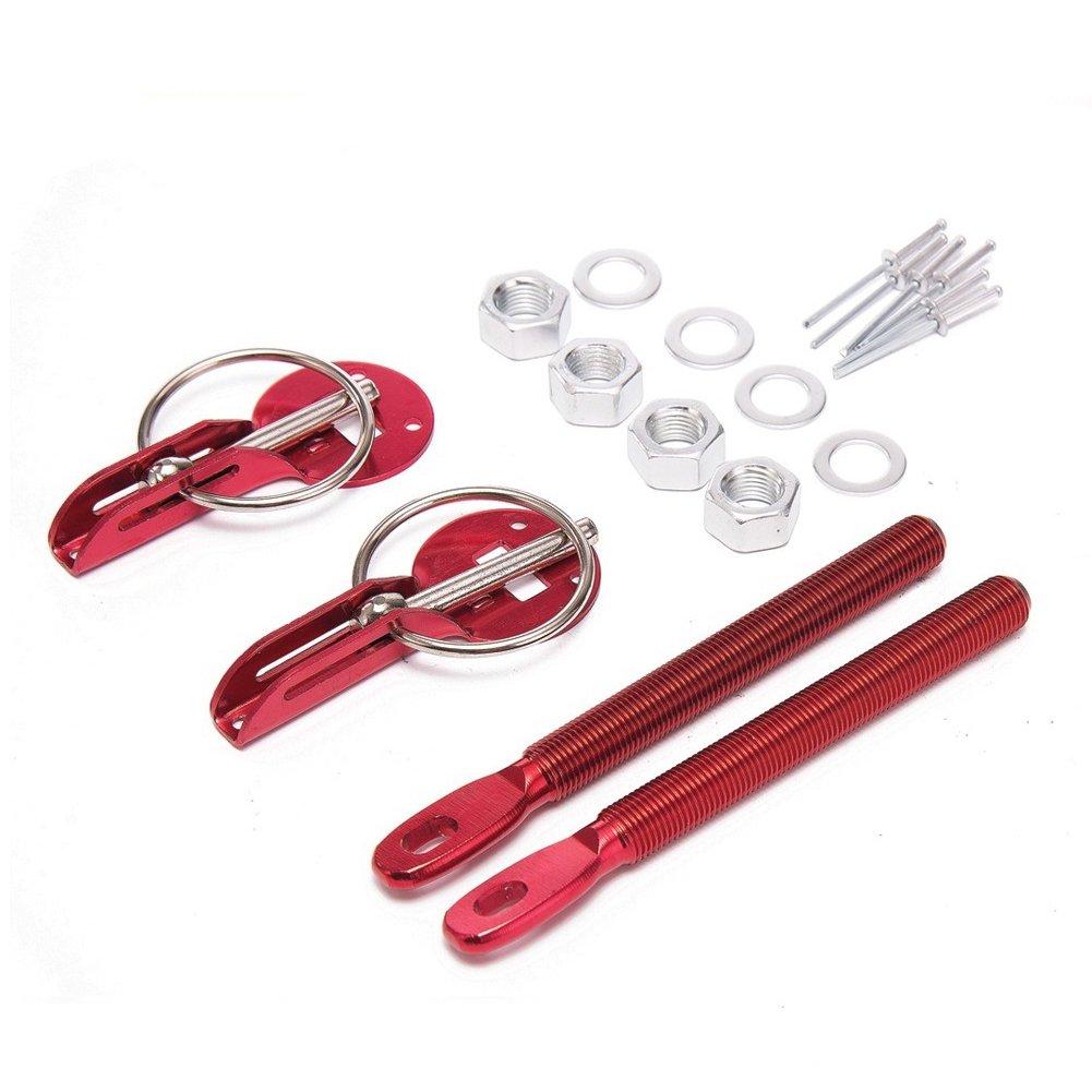 Universal Racing Sport Aluminum Alloy Mount Bonnet Hood Pin Lock Latch Kit Set For Auto Car (red) Automarketbiz