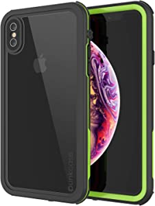 Punkcase Waterproof Case [Rapture Series] Protective IP68 Certified Full Body Cover W/Build in Screen Protector [Clear Back] Dustproof, Shockproof, Snowproof Compatible W/Apple iPhone Xs Max (Green)