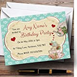 Vintage Tea Green Red Shabby Chic Personalized Birthday Party Invitations