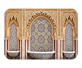 Beshowere Doormat Room Moroccan Decor Typical Moroccan Tiled Fountain in the City of Rabat near the Hassan Tower Image Bedroom Living Room Dorm Ivory and Blue.jpg