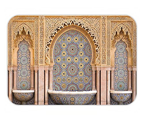 Beshowere Doormat Room Moroccan Decor Typical Moroccan Tiled Fountain in the City of Rabat near the Hassan Tower Image Bedroom Living Room Dorm Ivory and Blue.jpg by Beshowere