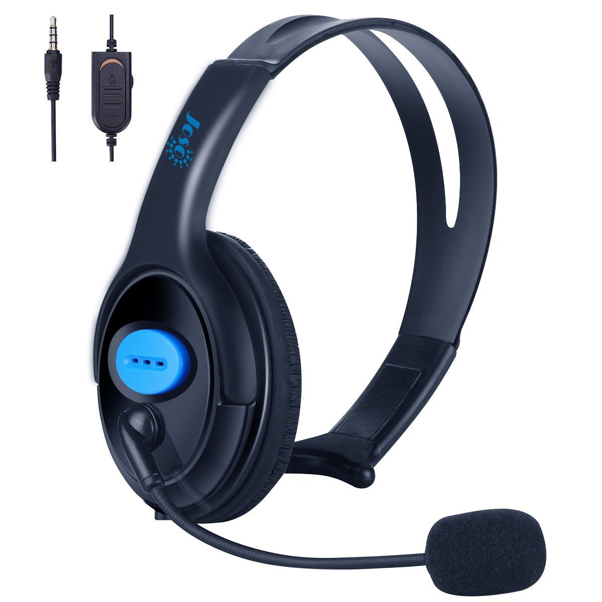 PS4 Xbox One Unilateral Headset, Joso 3.5mm Wired Gaming Headphone Online Chat One Ear Headset Headphone with Mic for PS4, PS4 Pro, PS4 Slim, Xbox One, Xbox One S, Xbox One X, Nintendo Switch