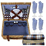 LEMY 4 Person Wicker Picnic Basket Hamper Set with Flatware, Plates and Wine Glasses Includes Tableware & Blanket