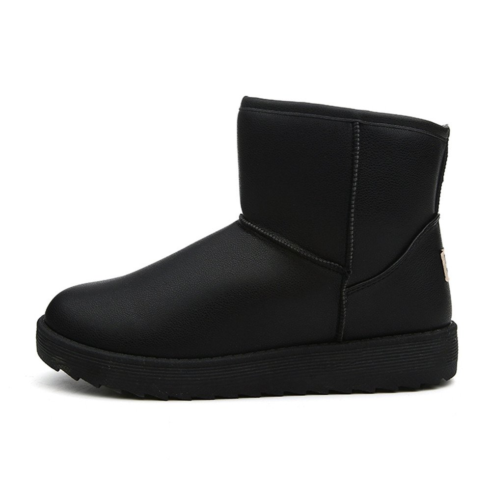 Winter snow boots with thick warm shoes leather cashmere anti-skid men short boots female lovers,43 black