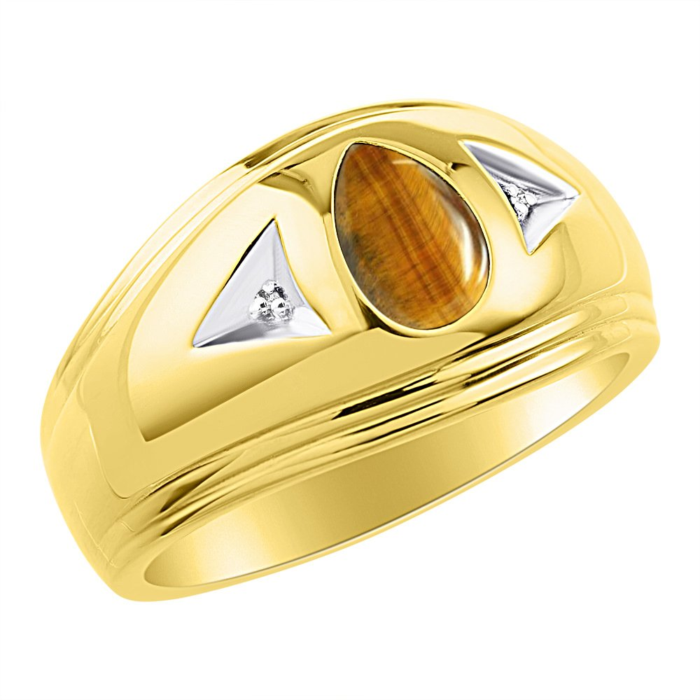 Timeless Pear Shape Tiger Eye & Natural Diamond Ring Yellow Gold Plated Silver .925