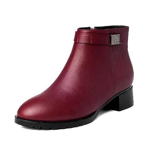 Botines de cuero de las señoras/Gruesos con yinglunping con tobillo moda boots/ Primavera